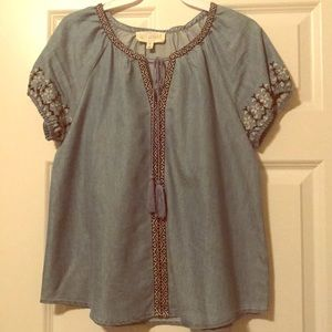 Denim peasant top with embroidery